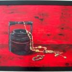 bol à  déjeuner birman et bijoux - acrylique  -  75 cm X 53 cm
