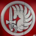 réalisation d'une fresque à l'Ecole des Troupes Aéroportées de PAU, 2,60 de diamètre - peinture acrylique, (avec une porte au centre)