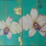 diptyque aux orchidées - acrylique et feuilles d'or -  2 fois 50cm X 50 cm  -vendue