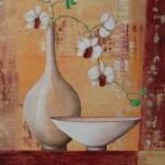 les orchidées blanches  -  acrylique  -  45 cm X 50  (offert)