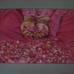 offrande aux roses   acrylique    50 X 70 cm