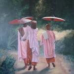 3 nonnes birmanes en route vers le temple - acrylique - Vendue