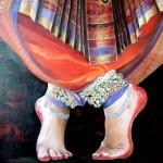 les pieds de la danseuse indienne   acrylique    60  cm  X  60 cm