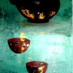 3 bols et une vieille théière chinoise  acrylique sur collages et feuilles d'or  -  vendu