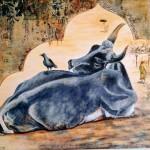 la vache sacrée      acrylique avec collages et sables  90 X 70 cm