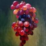 lévitation d'une grappe de raisin -  huile à l'eau sur fond acrylique  32 X 40cm