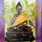 l'enseignement du Bouddha -acrylique, huile et feuilles d'or  (vendu)