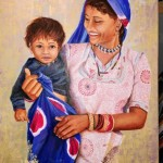 l'amour d'une mère    50 cm X 70 cm  acrylique, huile, sables.