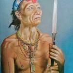 un homme fleur de Timor (Indonésie) aux crayons pastels sur pastelsoft   24 X 30 Cm