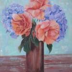 mes hortensias bleus et roses orangées  - acrylique  (offert)