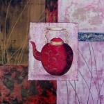 la théière rouge  - acrylique et techniques diverses (50x50)