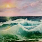 la vague  2   huile sur toile  80 X 60 Cm