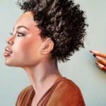 profil femme noire  aux pastels  24 X 30 cm