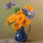 inspiré de Blanche ODIN  : pavots bleus et soucis  - huile  20 X30 cm