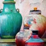 les jarres anciennes  50 cm X 60 cm   acrylique, huile, sables...