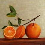 nature morte aux oranges   40 cm X 35 cm   huile sur fond dore   -vendu-é acrylique